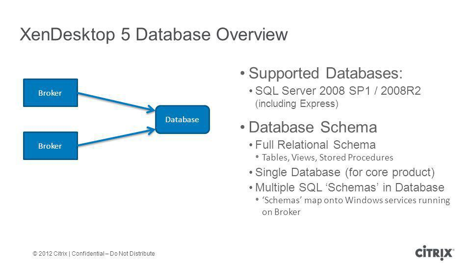 © 2012 Citrix | Confidential – Do Not Distribute Supported Databases: SQL Server 2008 SP1 / 2008R2 (including Express) Database Schema Full Relational Schema Tables, Views, Stored Procedures Single Database (for core product) Multiple SQL 'Schemas' in Database 'Schemas' map onto Windows services running on Broker XenDesktop 5 Database Overview Broker Database