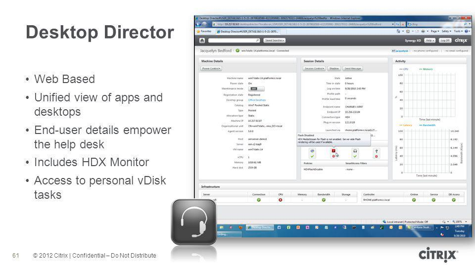 © 2012 Citrix | Confidential – Do Not Distribute Desktop Director 61 Web Based Unified view of apps and desktops End-user details empower the help desk Includes HDX Monitor Access to personal vDisk tasks