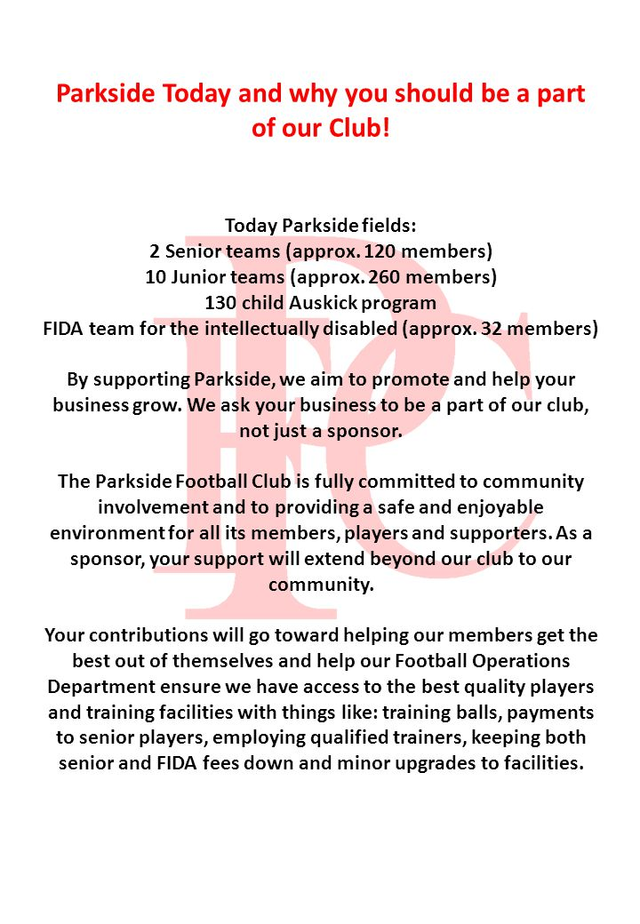 Parkside Today and why you should be a part of our Club.