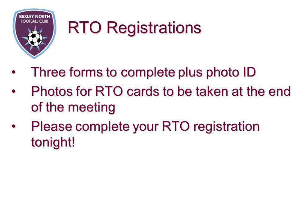 Three forms to complete plus photo IDThree forms to complete plus photo ID Photos for RTO cards to be taken at the end of the meetingPhotos for RTO ca