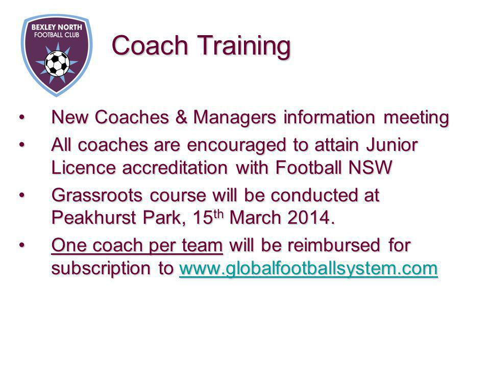 New Coaches & Managers information meetingNew Coaches & Managers information meeting All coaches are encouraged to attain Junior Licence accreditation with Football NSWAll coaches are encouraged to attain Junior Licence accreditation with Football NSW Grassroots course will be conducted at Peakhurst Park, 15 th March 2014.Grassroots course will be conducted at Peakhurst Park, 15 th March 2014.
