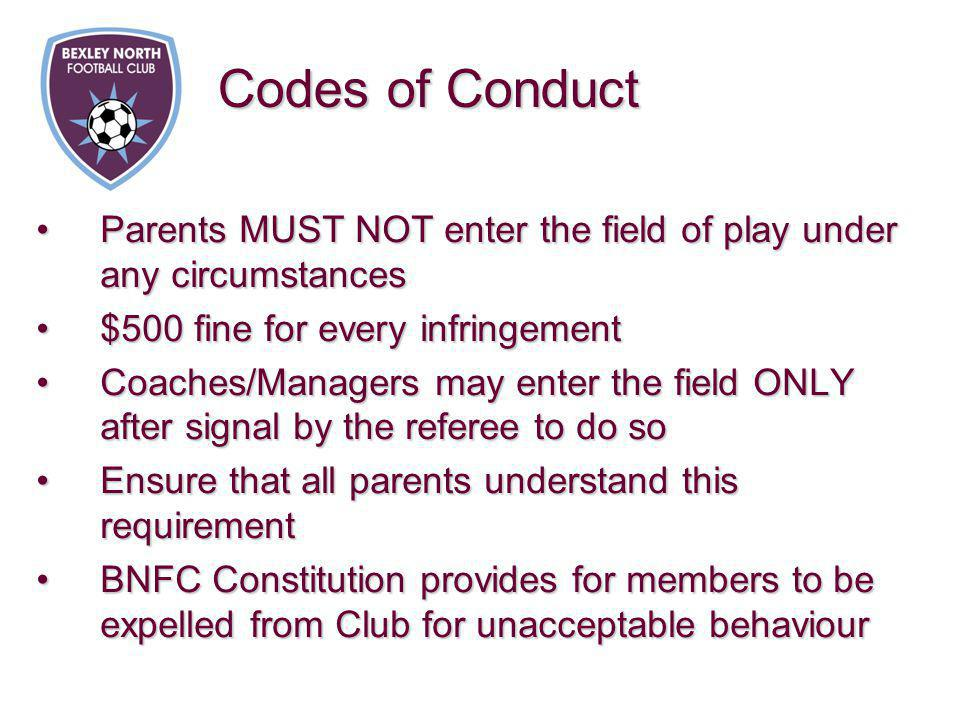 Parents MUST NOT enter the field of play under any circumstancesParents MUST NOT enter the field of play under any circumstances $500 fine for every i