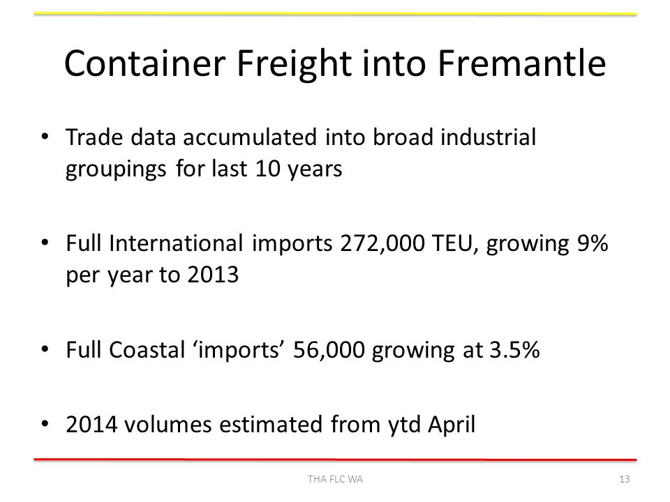 Container Freight into Fremantle Trade data accumulated into broad industrial groupings for last 10 years Full International imports 272,000 TEU, growing 9% per year to 2013 Full Coastal 'imports' 56,000 growing at 3.5% 2014 volumes estimated from ytd April THA FLC WA13