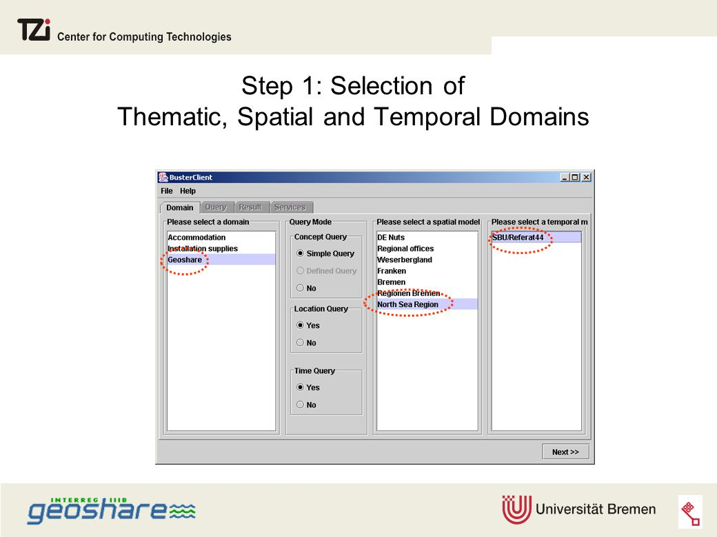 Step 1: Selection of Thematic, Spatial and Temporal Domains