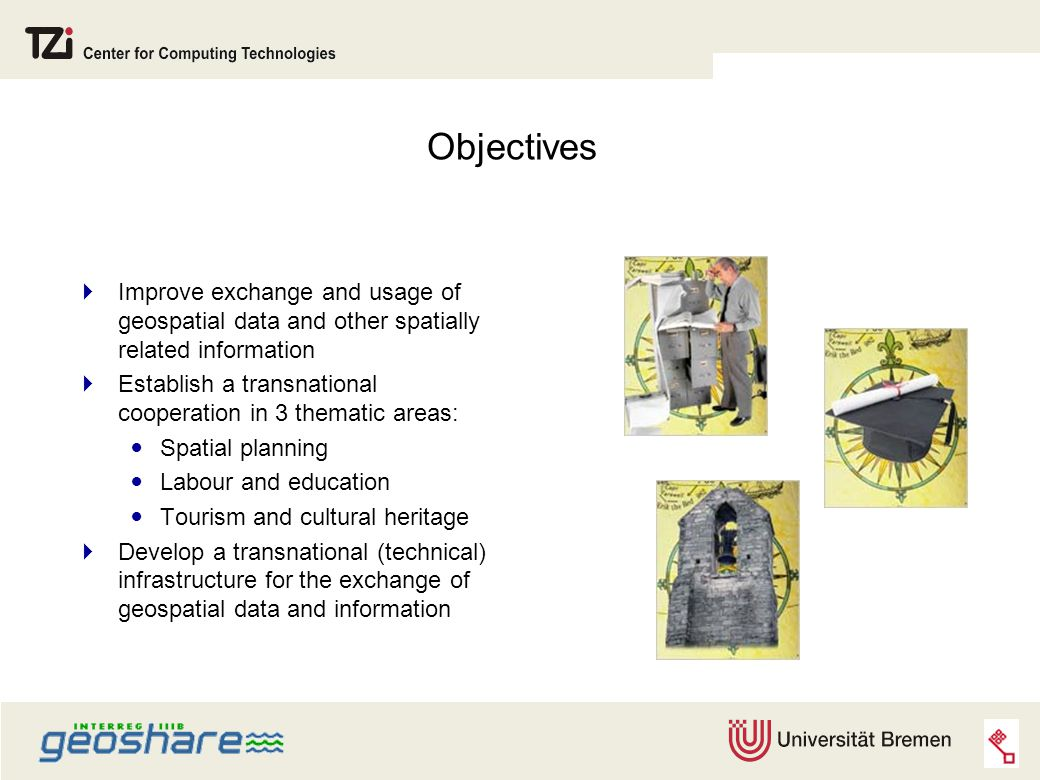 Objectives  Improve exchange and usage of geospatial data and other spatially related information  Establish a transnational cooperation in 3 thematic areas: Spatial planning Labour and education Tourism and cultural heritage  Develop a transnational (technical) infrastructure for the exchange of geospatial data and information