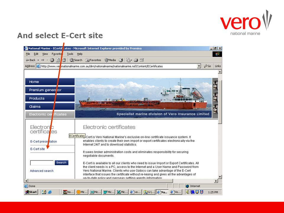 And select E-Cert site