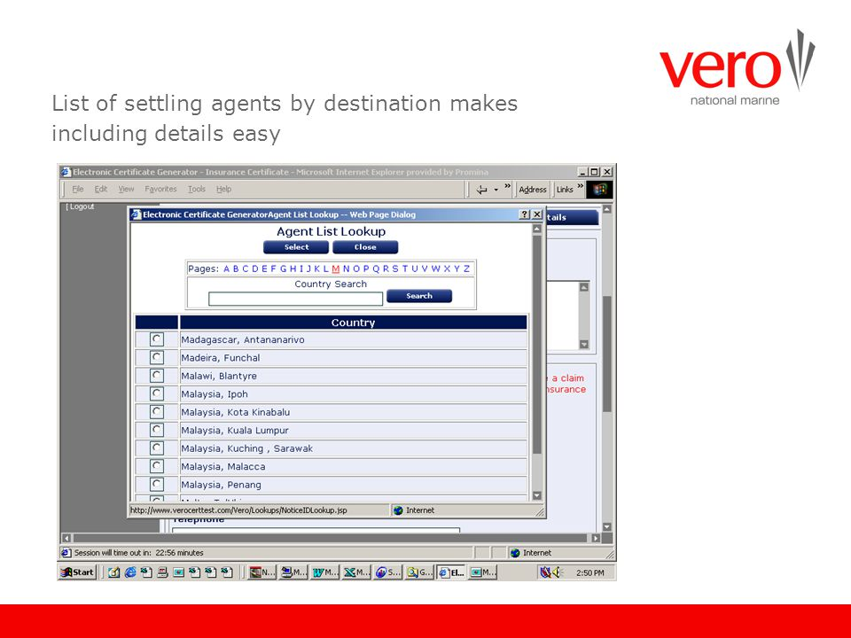 List of settling agents by destination makes including details easy
