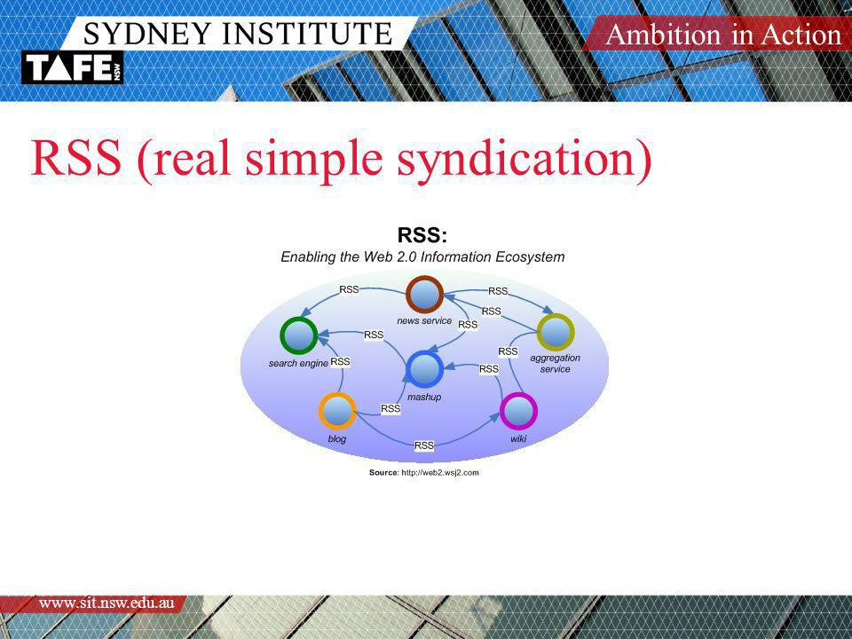 Ambition in Action www.sit.nsw.edu.au RSS (real simple syndication)