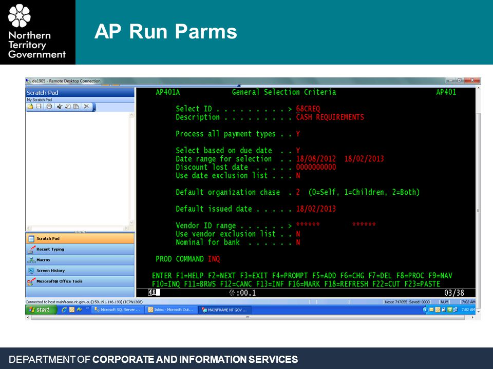DEPARTMENT OF CORPORATE AND INFORMATION SERVICES AP Run Parms