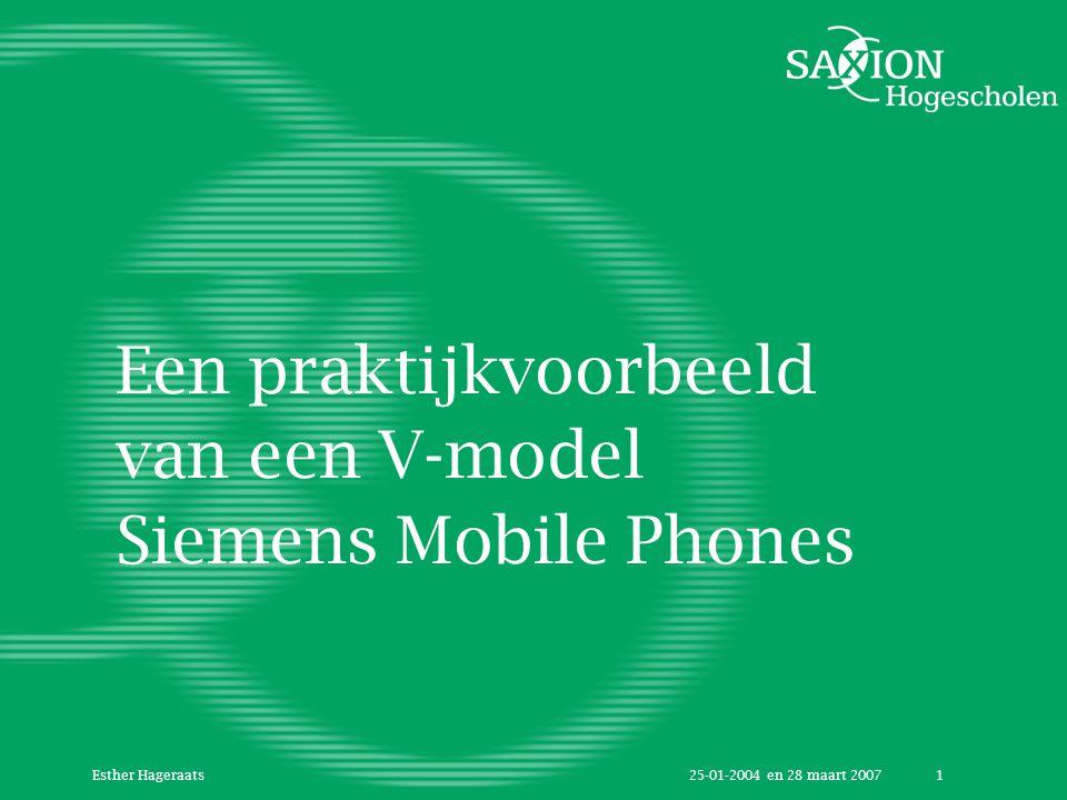 25-01-2004 en 28 maart 2007Esther Hageraats1 Een praktijkvoorbeeld van een V-model Siemens Mobile Phones