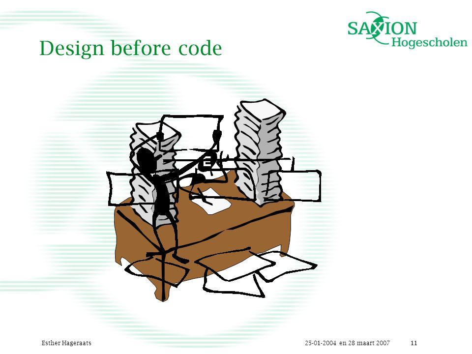 25-01-2004 en 28 maart 2007Esther Hageraats11 Design before code E