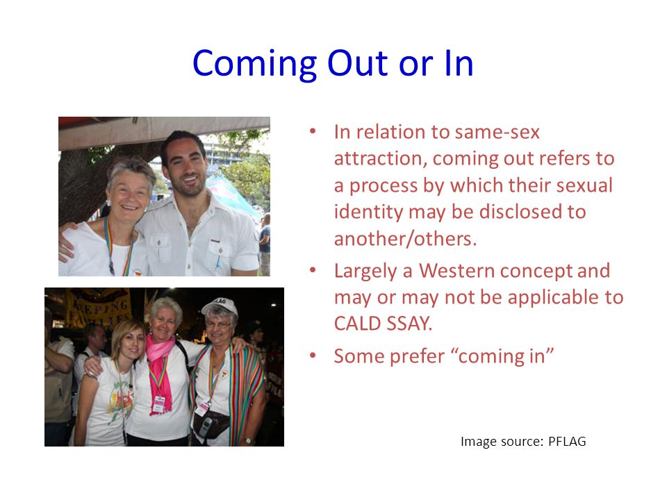 Coming Out or In In relation to same-sex attraction, coming out refers to a process by which their sexual identity may be disclosed to another/others.