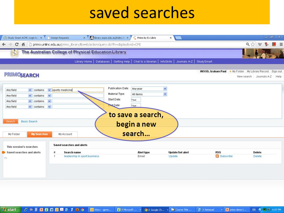 to save a search, begin a new search…