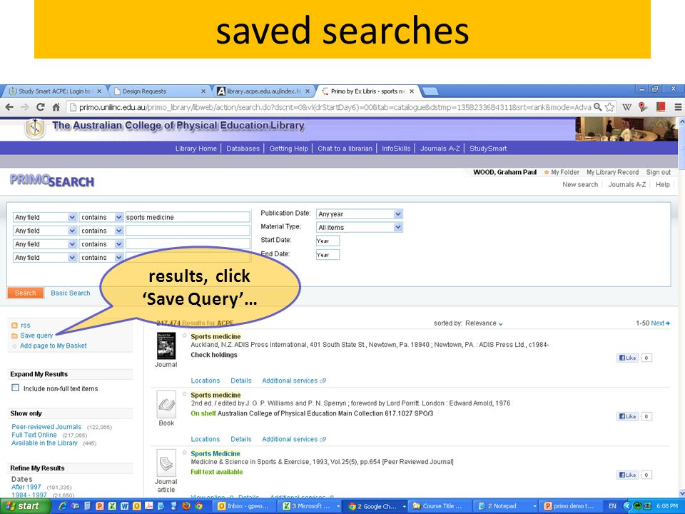 saved searches results, click 'Save Query'…