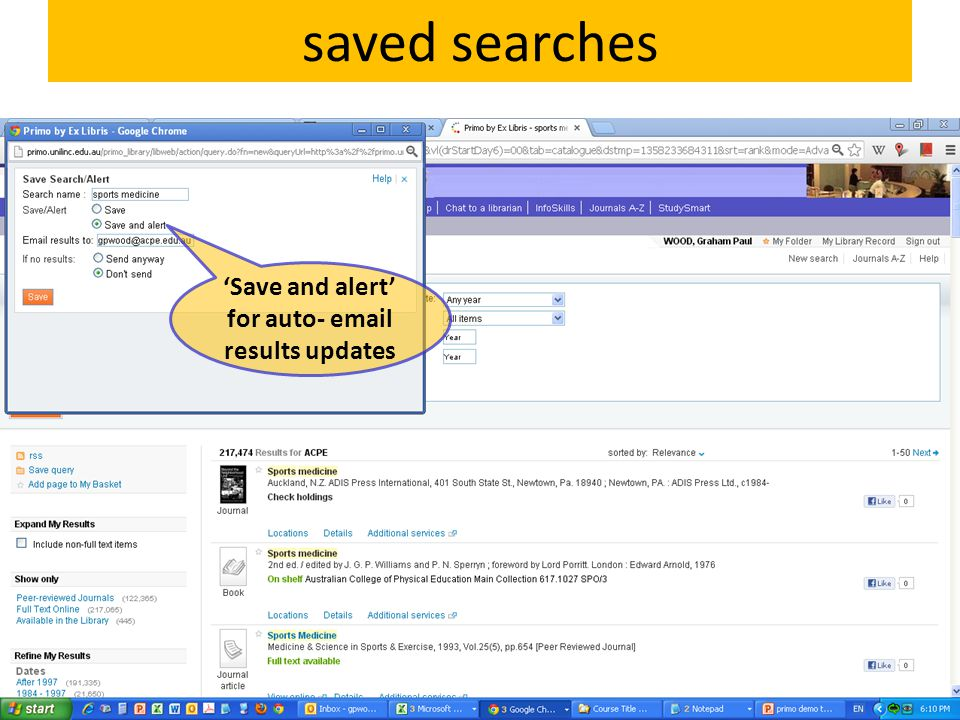 saved searches 'Save and alert' for auto- email results updates
