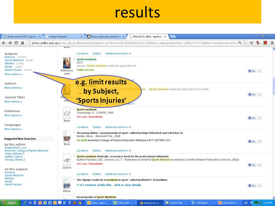results e.g. limit results by Subject, 'Sports Injuries'