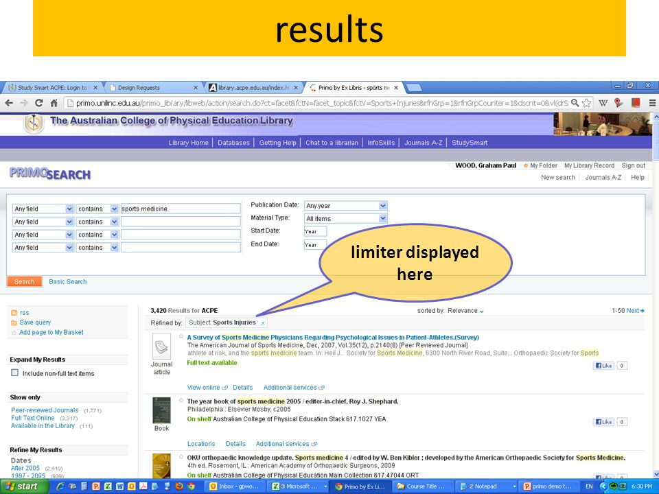 results limiter displayed here