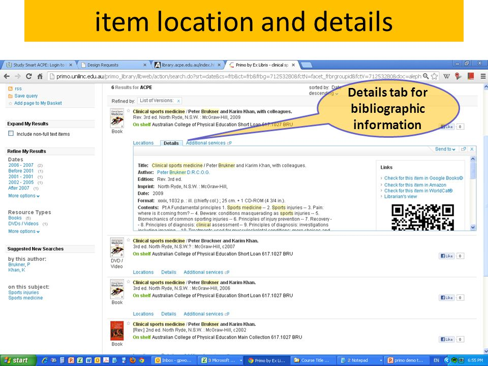 item location and details Details tab for bibliographic information