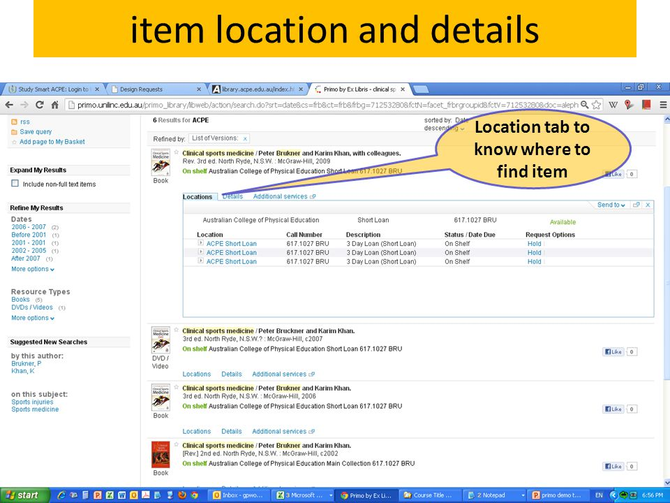 item location and details Location tab to know where to find item