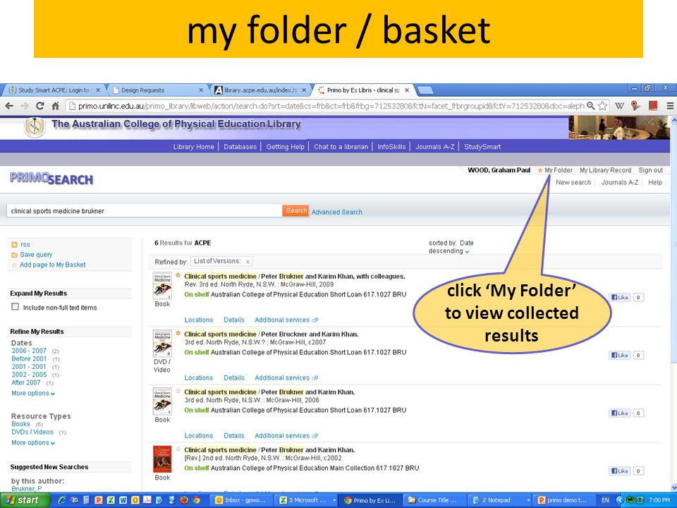 my folder / basket click 'My Folder' to view collected results