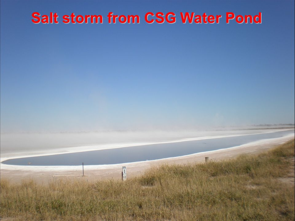 DCQ-RAPAD Coal Seam Gas Forum: Fracking, Coal Seam Gas & Groundwater 21-22 April 2012 / 11 Salt storm from CSG Water Pond