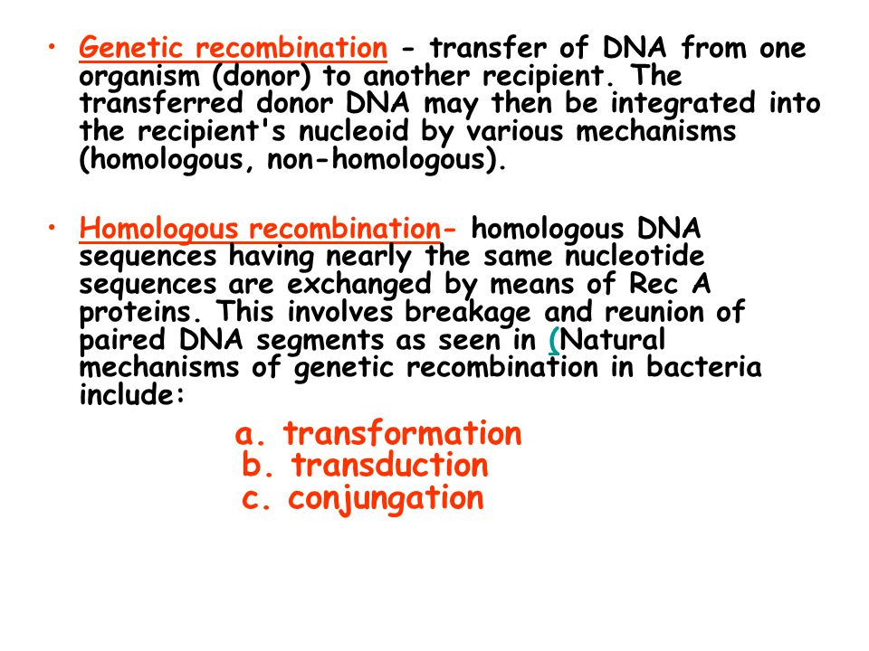 Genetic recombination - transfer of DNA from one organism (donor) to another recipient. The transferred donor DNA may then be integrated into the reci