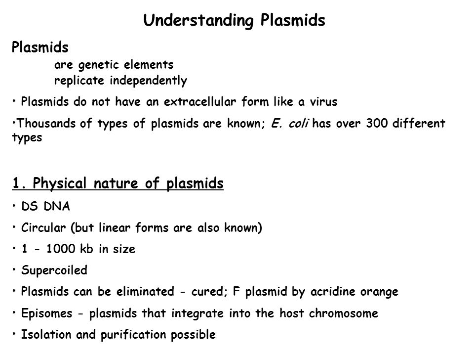 Understanding Plasmids Plasmids are genetic elements replicate independently Plasmids do not have an extracellular form like a virus Thousands of types of plasmids are known; E.