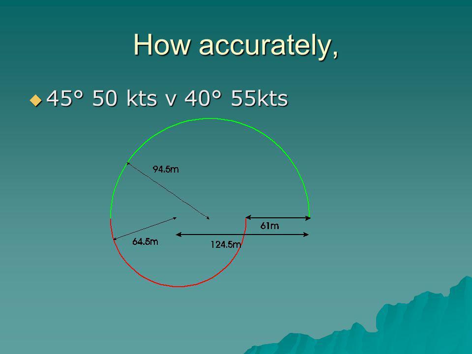 How accurately,  45° 50 kts v 40° 55kts