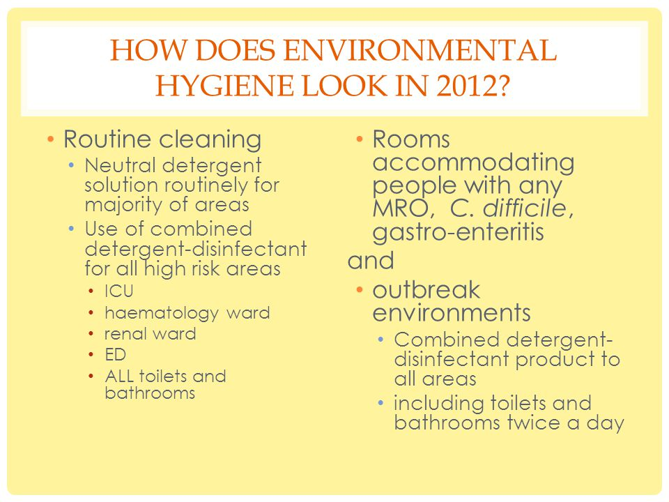 HOW DOES ENVIRONMENTAL HYGIENE LOOK IN 2012.
