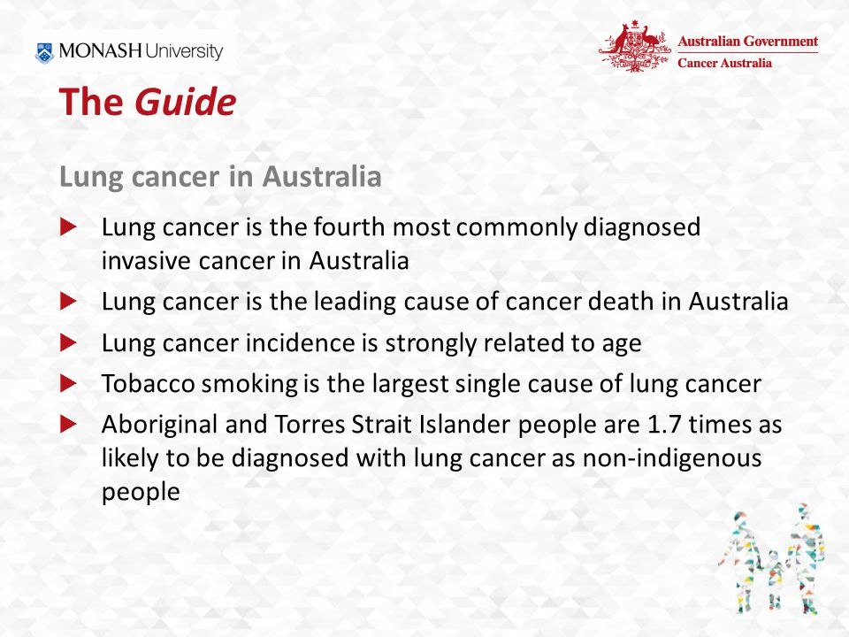 The Guide Lung cancer in Australia  Lung cancer is the fourth most commonly diagnosed invasive cancer in Australia  Lung cancer is the leading cause of cancer death in Australia  Lung cancer incidence is strongly related to age  Tobacco smoking is the largest single cause of lung cancer  Aboriginal and Torres Strait Islander people are 1.7 times as likely to be diagnosed with lung cancer as non-indigenous people