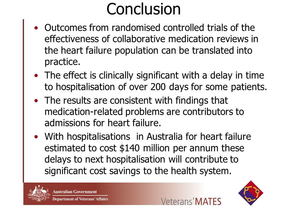 Conclusion Outcomes from randomised controlled trials of the effectiveness of collaborative medication reviews in the heart failure population can be translated into practice.
