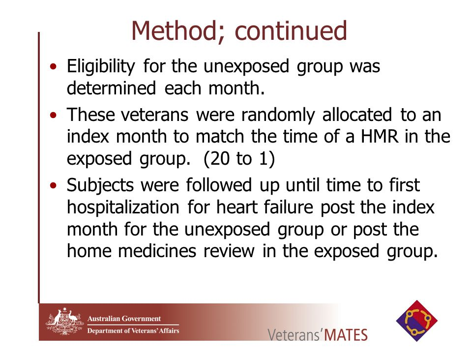 Method; continued Eligibility for the unexposed group was determined each month.