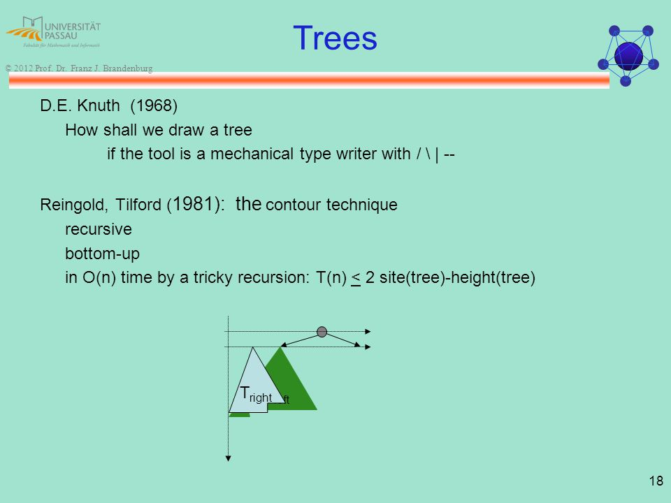 18 © 2012 Prof. Dr. Franz J. Brandenburg Trees D.E. Knuth (1968) How shall we draw a tree if the tool is a mechanical type writer with / \ | -- Reingo