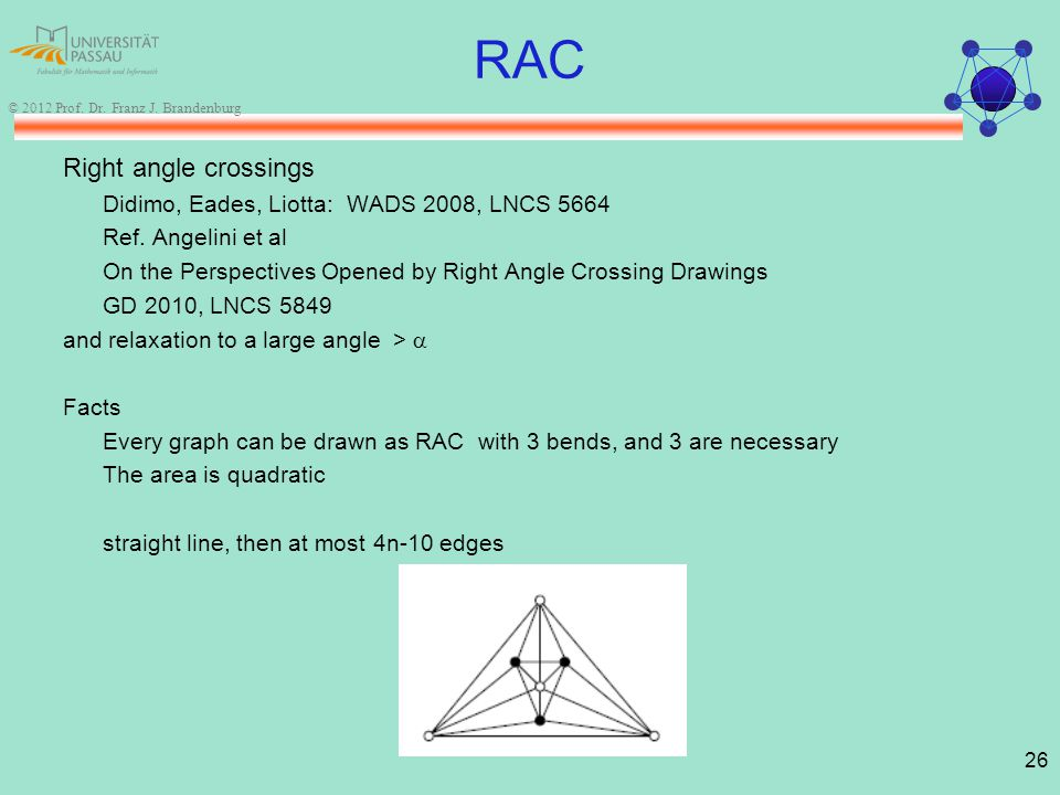 26 © 2012 Prof. Dr. Franz J. Brandenburg RAC Right angle crossings Didimo, Eades, Liotta: WADS 2008, LNCS 5664 Ref. Angelini et al On the Perspectives