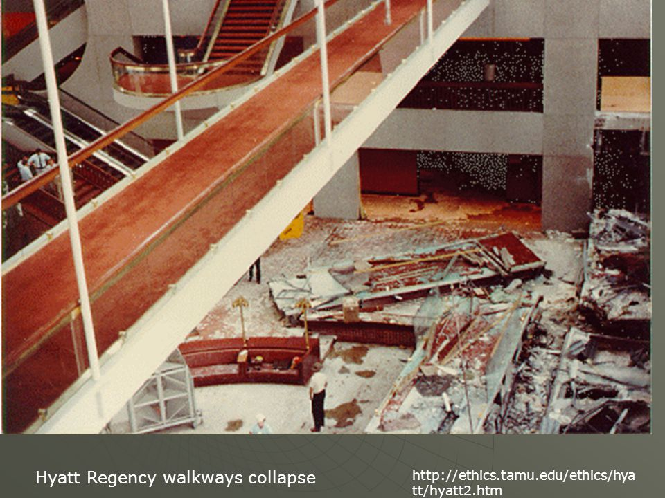Hyatt Regency walkways collapse http://ethics.tamu.edu/ethics/hya tt/hyatt2.htm