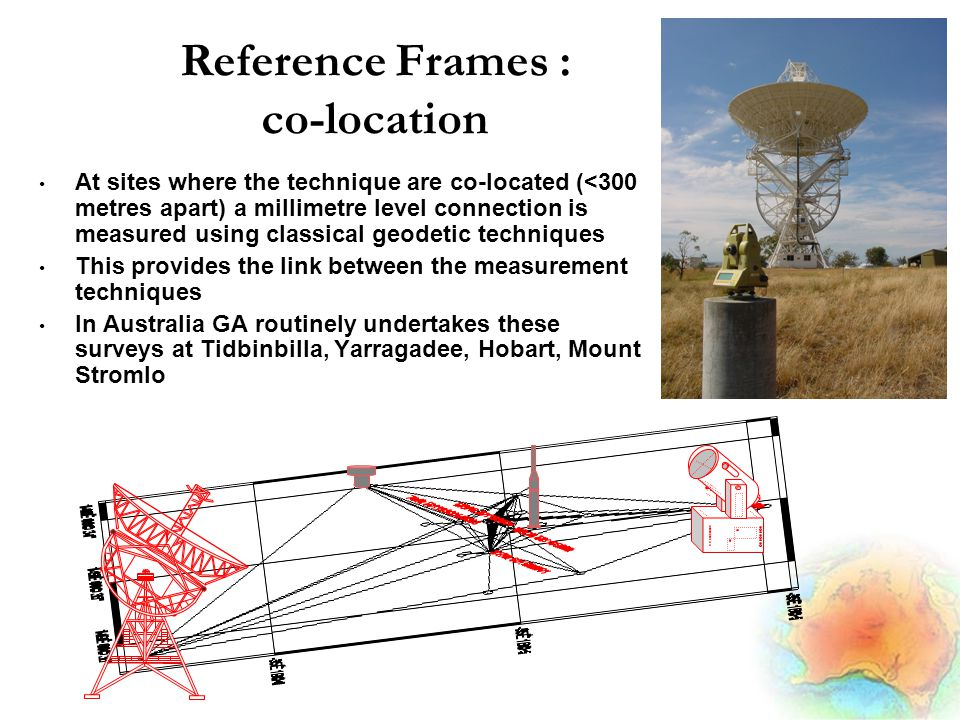 Reference Frames : co-location At sites where the technique are co-located (<300 metres apart) a millimetre level connection is measured using classical geodetic techniques This provides the link between the measurement techniques In Australia GA routinely undertakes these surveys at Tidbinbilla, Yarragadee, Hobart, Mount Stromlo VLBI SLR GPS DORIS