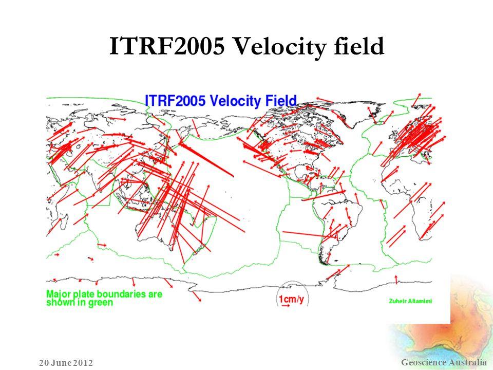 Geoscience Australia 20 June 2012 ITRF2005 Velocity field