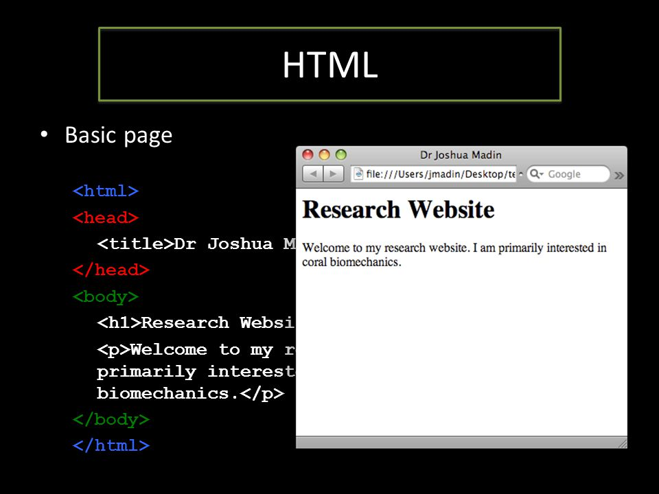 HTML Basic page Dr Joshua Madin Research Website Welcome to my research website.