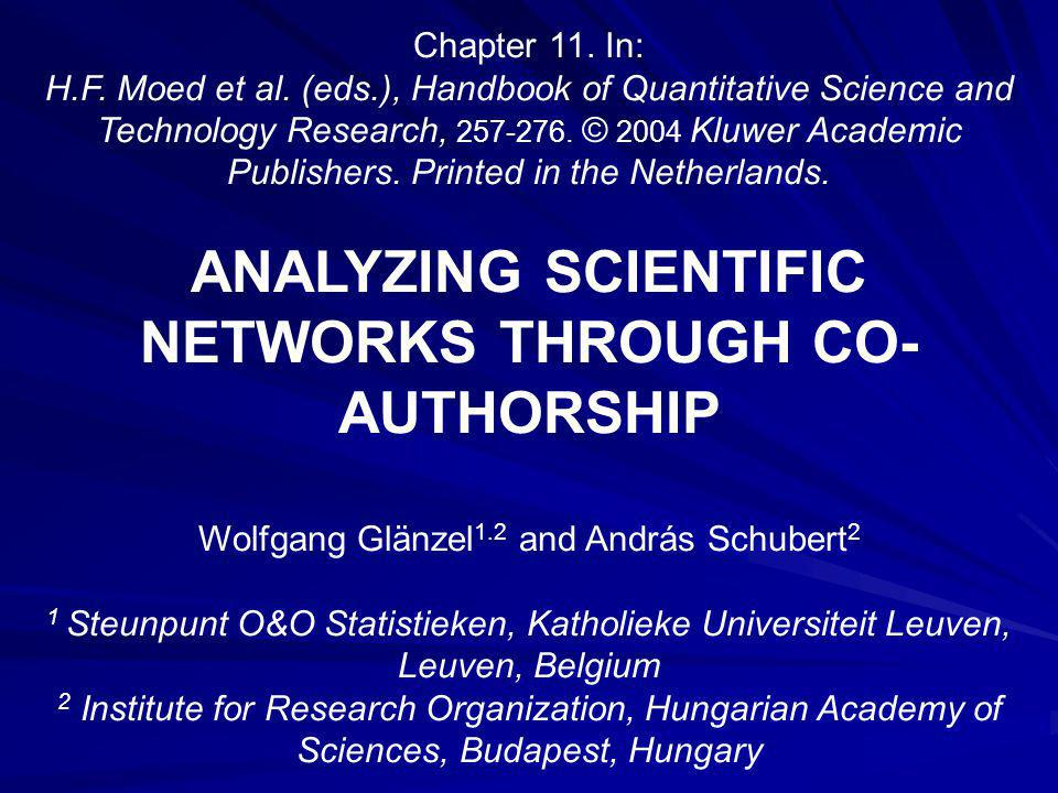 Abstract: Co-authorship is one of the most tangible and well documented forms of scientific collaboration.