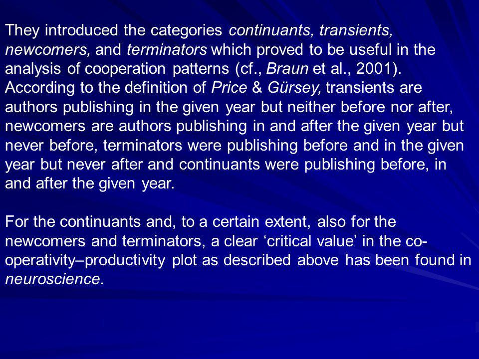 They introduced the categories continuants, transients, newcomers, and terminators which proved to be useful in the analysis of cooperation patterns (cf., Braun et al., 2001).