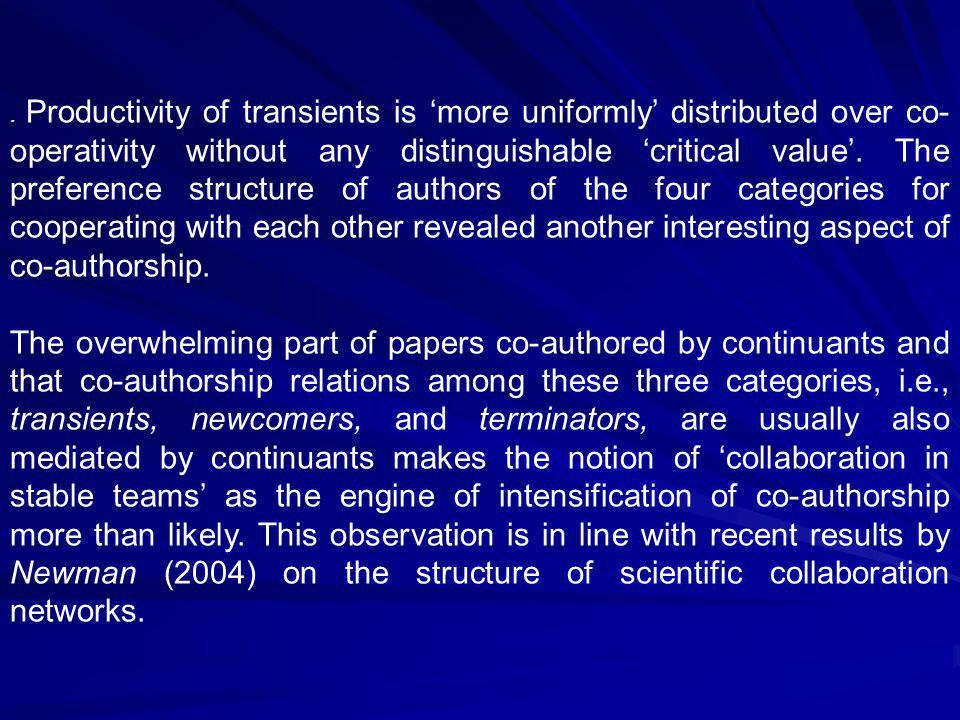 Productivity of transients is 'more uniformly' distributed over co- operativity without any distinguishable 'critical value'.