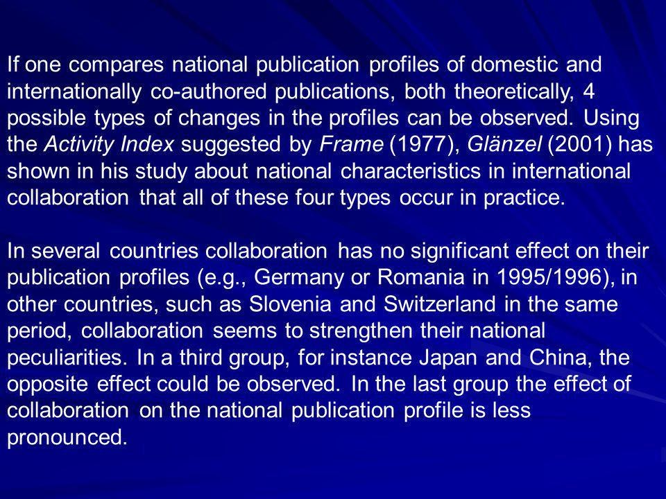 If one compares national publication profiles of domestic and internationally co-authored publications, both theoretically, 4 possible types of changes in the profiles can be observed.