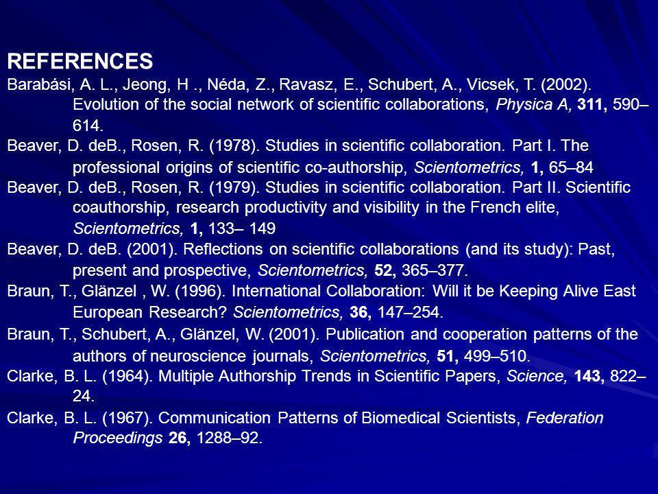 REFERENCES Barabási, A. L., Jeong, H., Néda, Z., Ravasz, E., Schubert, A., Vicsek, T.