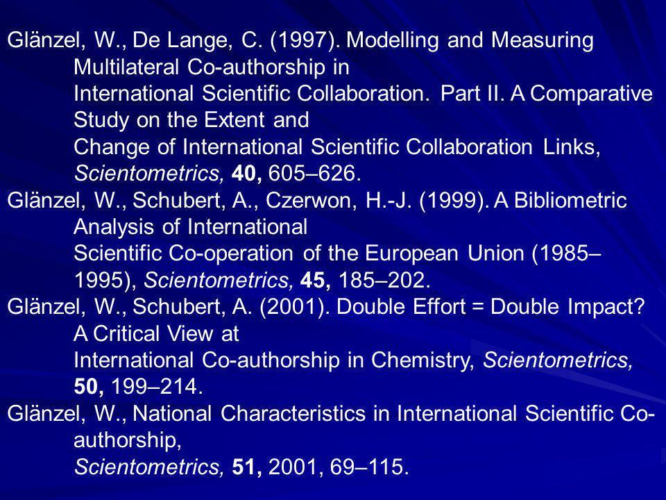 Glänzel, W., De Lange, C. (1997).