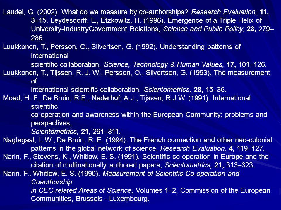 Laudel, G. (2002). What do we measure by co-authorships.