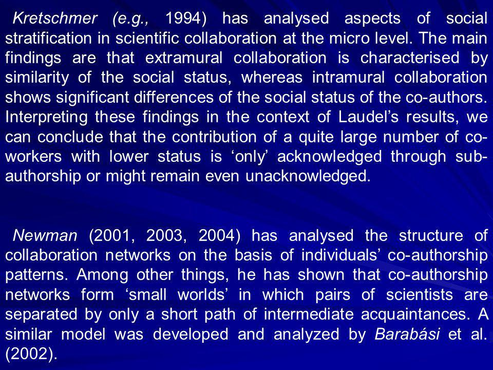 Glänzel, W.(2002). Co-authorship patterns and trends in the sciences (1980–1998).