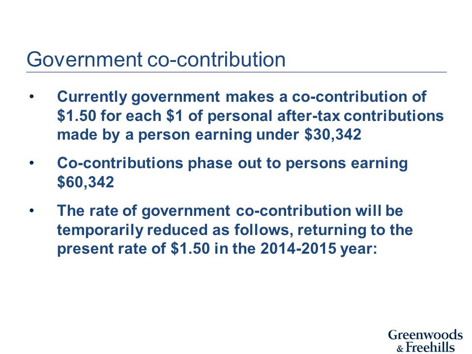 Government co-contribution Currently government makes a co-contribution of $1.50 for each $1 of personal after-tax contributions made by a person earning under $30,342 Co-contributions phase out to persons earning $60,342 The rate of government co-contribution will be temporarily reduced as follows, returning to the present rate of $1.50 in the year:
