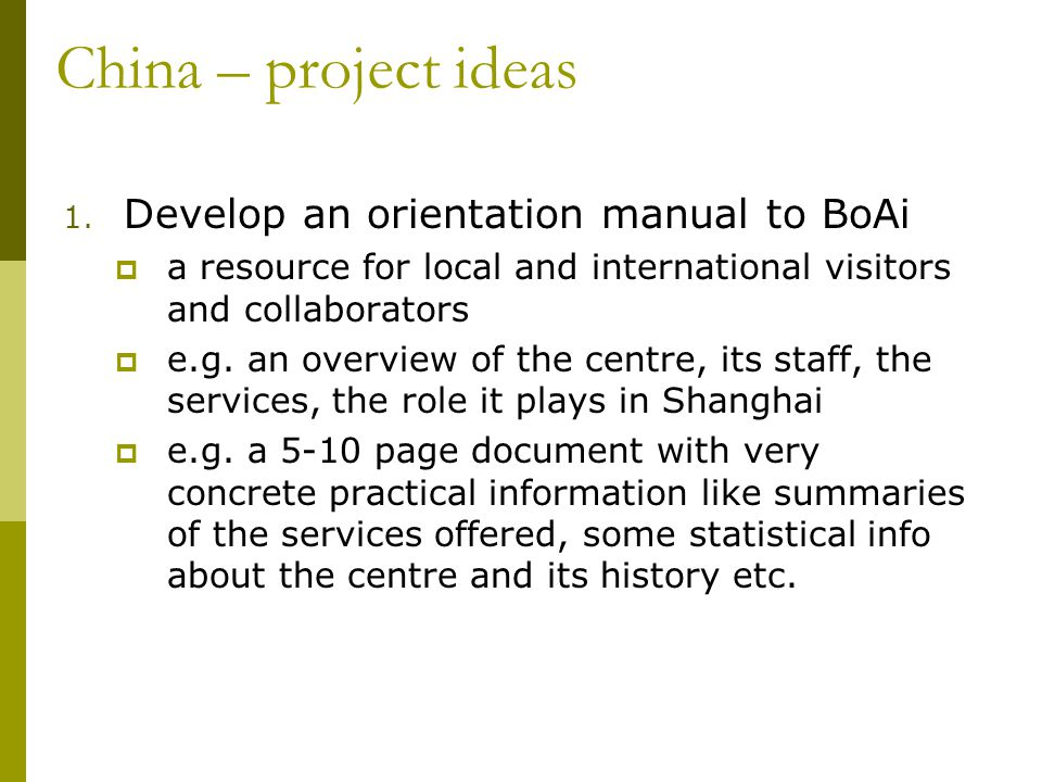China – project ideas 1.