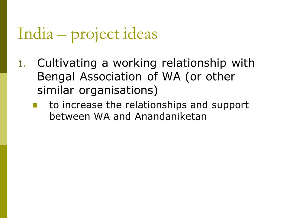 India – project ideas 1.
