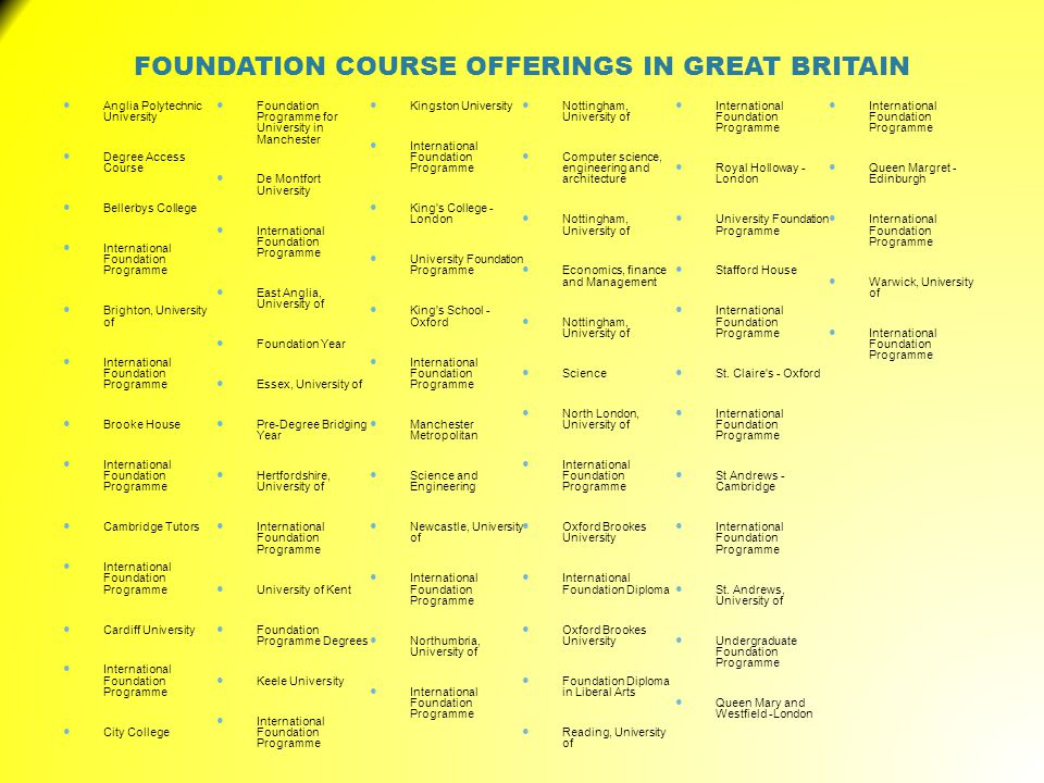 FOUNDATION COURSE OFFERINGS IN GREAT BRITAIN Anglia Polytechnic University Degree Access Course Bellerbys College International Foundation Programme Brighton, University of International Foundation Programme Brooke House International Foundation Programme Cambridge Tutors International Foundation Programme Cardiff University International Foundation Programme City College Foundation Programme for University in Manchester De Montfort University International Foundation Programme East Anglia, University of Foundation Year Essex, University of Pre-Degree Bridging Year Hertfordshire, University of International Foundation Programme University of Kent Foundation Programme Degrees Keele University International Foundation Programme Kingston University International Foundation Programme King s College - London University Foundation Programme King s School - Oxford International Foundation Programme Manchester Metropolitan Science and Engineering Newcastle, University of International Foundation Programme Northumbria, University of International Foundation Programme Nottingham, University of Computer science, engineering and architecture Nottingham, University of Economics, finance and Management Nottingham, University of Science North London, University of International Foundation Programme Oxford Brookes University International Foundation Diploma Oxford Brookes University Foundation Diploma in Liberal Arts Reading, University of International Foundation Programme Royal Holloway - London University Foundation Programme Stafford House International Foundation Programme St.